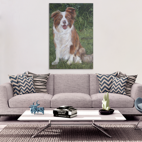 Brown Border Collie - Canvas (4 Sizes) - Nana The Noodle