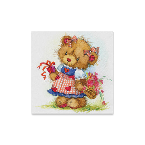 "Teddy Bear Canvas Print 16"" X 16"" (5 Designs)"