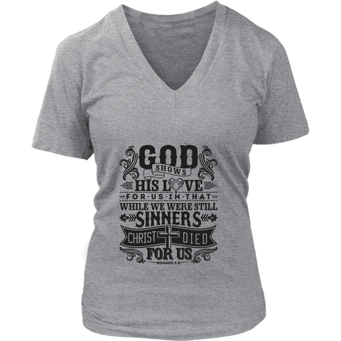 God Shows His Love For Us - Ladies V-Neck T-Shirt (3 colors) - Nana The Noodle