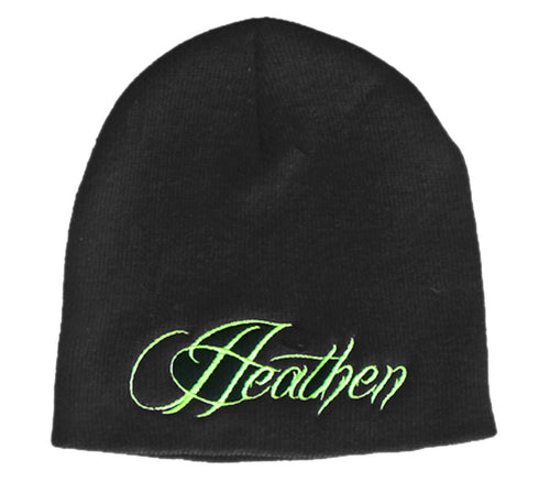 Black and Green Script Beanie
