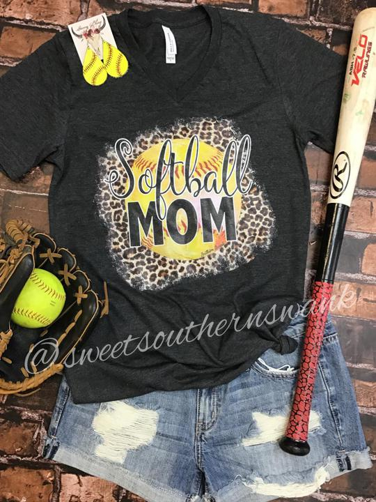 Softball Mom Leopard Tee