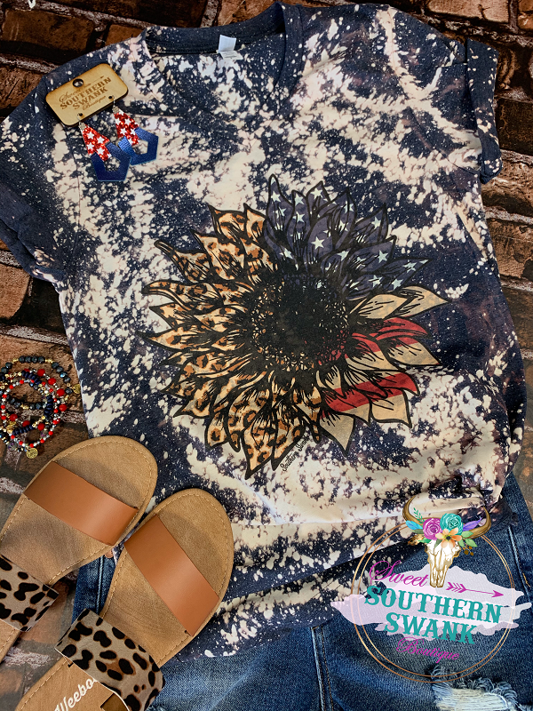 Patriotic and Leopard Sunflower Tee