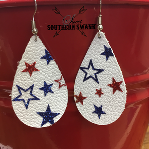 Red White & Blue Star Earrings