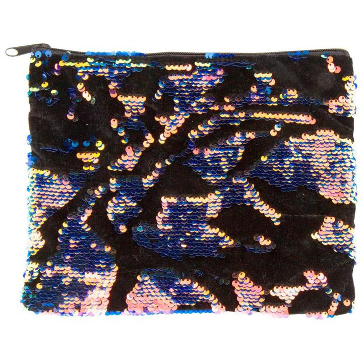 Iridescent Magic Sequin and Velvet Zip Pouch