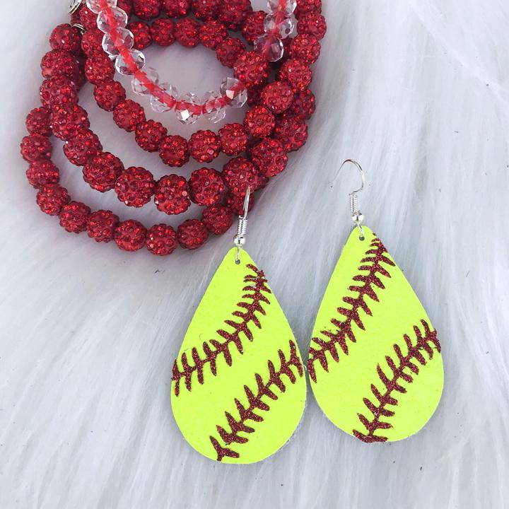 Leather Softball Earrings