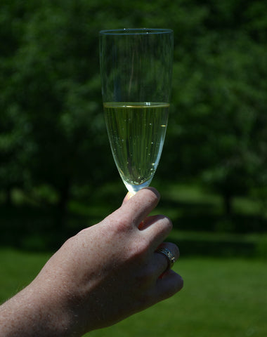 Person holding a champagne glass filled with cider.