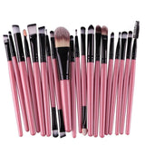 20 Piece Studio Pro Brush Set - affordable Brushes Cheap Clothes Quality - Pink black rod tube