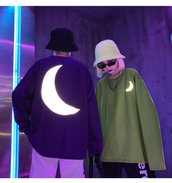 3M Reflective Lunar Sweaters - affordable Cheap Clothes Mens Longsleeves Quality