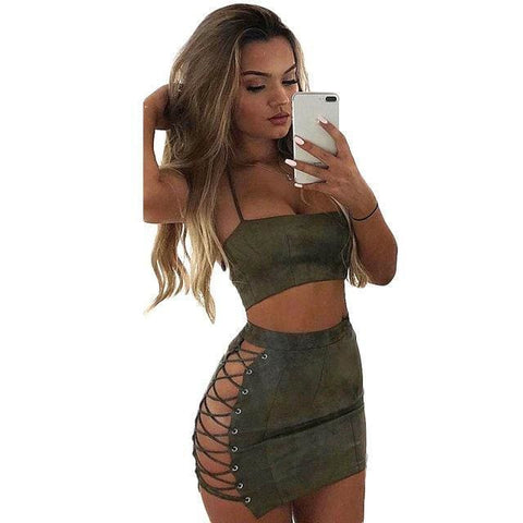 Acacia Suede 2 Piece Set - affordable Cheap Clothes Quality styles - Army Green / L
