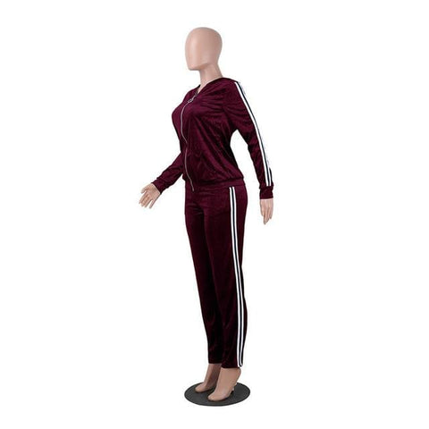 Adorea Velvet Tracksuits - affordable Cheap Clothes Hoodies Quality - Burgundy / S