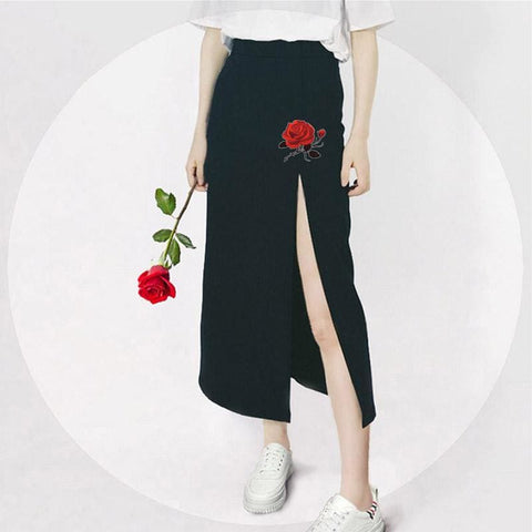 Akane Embroidered Rose Slit Skirt - affordable Cheap Clothes Quality skirts