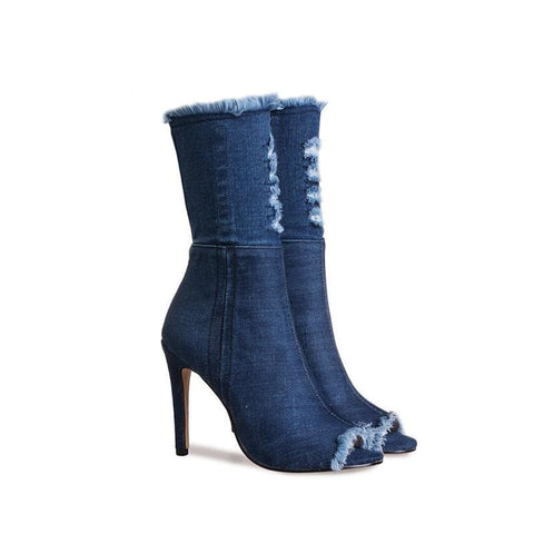 Aliayah Denim Heels - affordable Cheap Clothes Quality styles