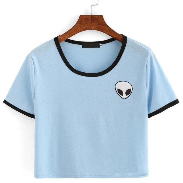 Alien Head Crop Top - affordable Cheap Clothes Crop Tops Quality