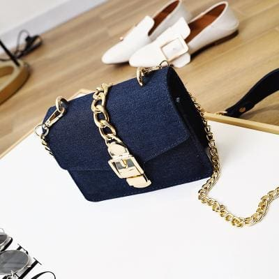 Aliyah Denim Chain Crossbody Bags - affordable Cheap Clothes Quality styles - Deep blue