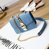 Aliyah Denim Chain Crossbody Bags - affordable Cheap Clothes Quality styles - Light blue
