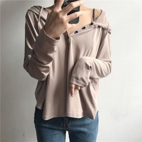 Anastasia Button Up Hoodies - affordable Cheap Clothes Quality styles - Khaki / One Size