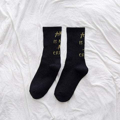 Art Is Not A Crime Socks - affordable Cheap Clothes Quality styles - Black / Free Size