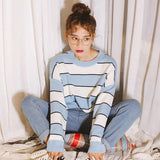 Ayami Striped Knit Sweater - affordable Cheap Clothes Quality styles - Blue / One Size