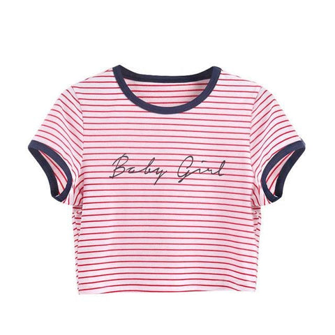 Baby Girl Nautical Crop Tops - affordable Cheap Clothes Quality styles - Pink / L