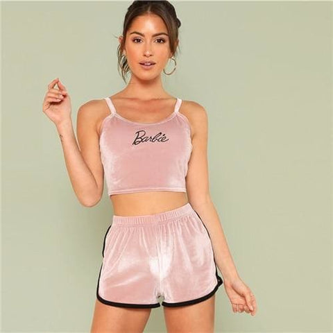 38a94d20ab2 Barbie Velvet Crop Top + Dolphin Hem Shorts - affordable Cheap Clothes  Quality styles - Pink