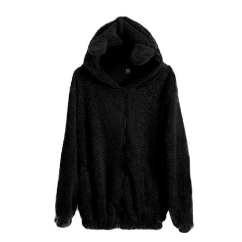 Bear Sherpa Hoodies - affordable Cheap Clothes Quality styles - Black / One Size