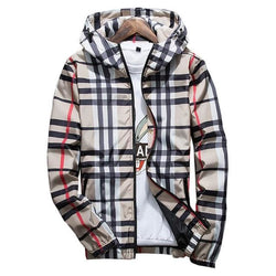 Beige Striped Windbreakers - Mens Hoodies Streetwear Tops