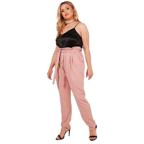 Bellani High Waist Ruffle Trousers - affordable Cheap Clothes Quality styles - Pink / XXXL