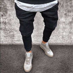 Biker Denim Joggers - affordable Cheap Clothes Quality Streetwear Bottoms - Black / S