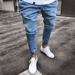 Biker Denim Joggers - affordable Cheap Clothes Quality Streetwear Bottoms - Blue / S