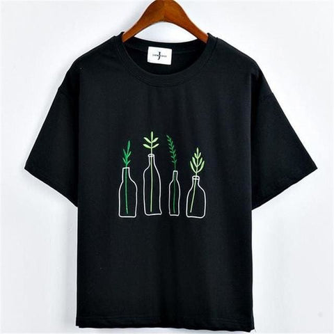 Black Plants Embroidered Oversized Shirts - affordable Cheap Clothes Quality styles