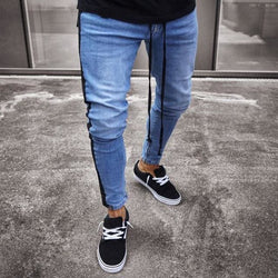 Black Striped Jogger Jeans - affordable Cheap Clothes Quality Streetwear Bottoms - Blue / S