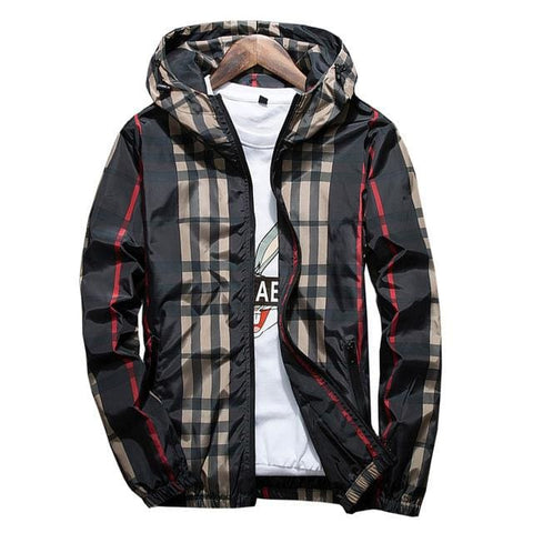 Black Striped Windbreakers - Mens Hoodies Streetwear Tops - Black / M