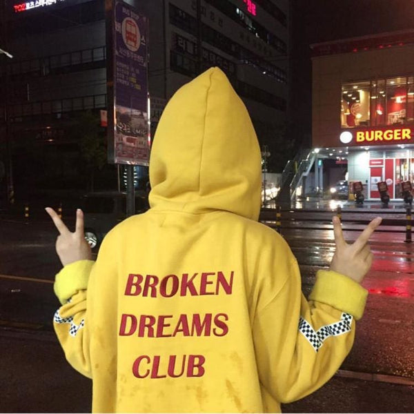 BROKEN DREAMS CLUB Hoodies - affordable Cheap Clothes Kpop Sweaters Mens Hoodies - Gold / One Size