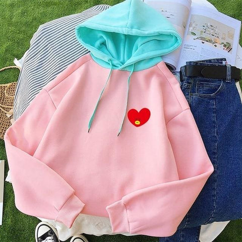 BT21 Pastel Hoodies - Bangtan Boys KPOP Hoodies Sweatshirt Women Korean Casual Long Sleeve Fleece Patchwork Hooded Pullover Autumn Winter