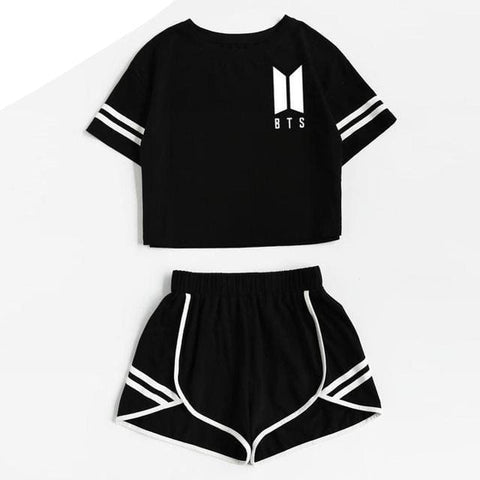 BTS 2 Piece Set - affordable BTS Cheap Clothes Quality - Black / L / China