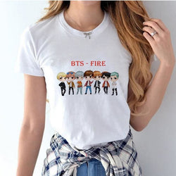 BTS Fire Shirts - affordable BTS Cheap Clothes KPOP Shirts - White / S
