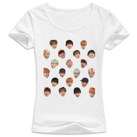 BTS Heads Shirts - affordable BTS Cheap Clothes KPOP Shirts - White / S