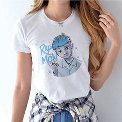 BTS Rap Monster Shirts - affordable BTS Cheap Clothes KPOP Shirts - White / S