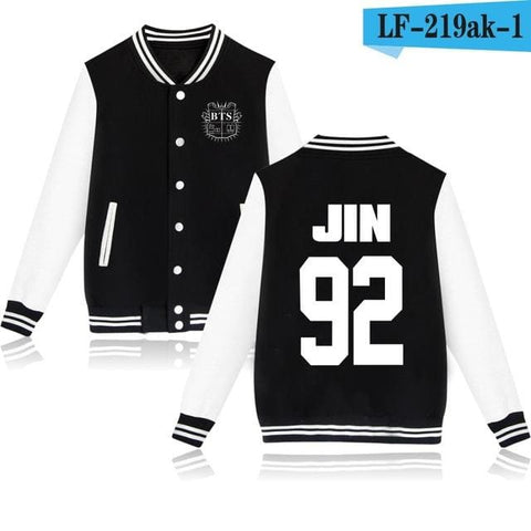 BTS Varsity Jackets + Free Bracelet & Badge - affordable BTS Cheap Clothes Quality - black 92 / 4XL