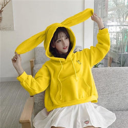 Bunny Ears Hoodies - affordable Cheap Clothes Quality styles - Yellow / XXS