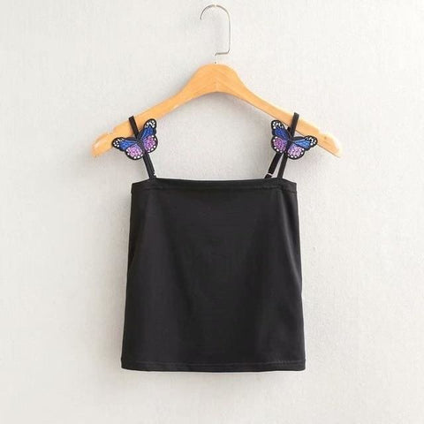 Butterfly Babe Crop Tops - affordable Cheap Clothes Quality styles - Black / L