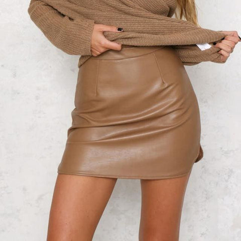 Caila Faux Leather Skirt - affordable Cheap Clothes Quality Skirts - Khaki / S