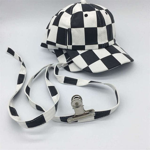 Checkered G Dragon Hat - affordable BIGBANG Cheap Clothes KPOP Accessories