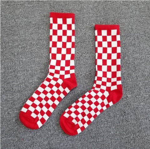 Checkered Socks - Red / One Size