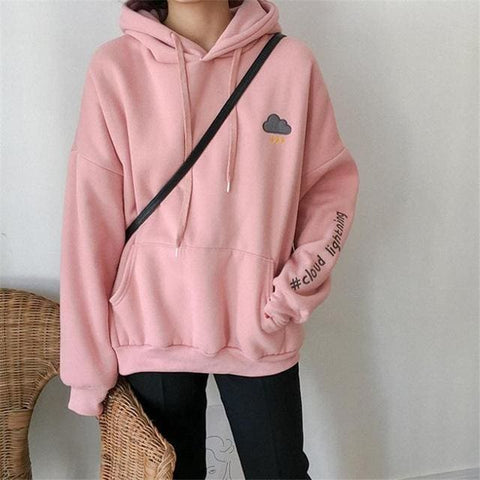 Cloud Lightning Hoodies - affordable Cheap Clothes Quality styles - Pink / One Size