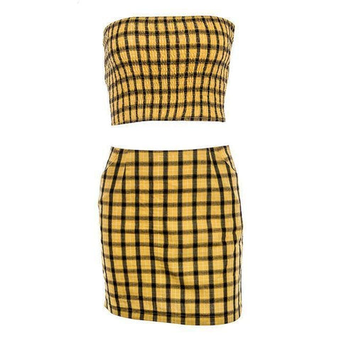 Clueless 2 Piece Set - affordable Cheap Clothes Quality styles - Yellow / L