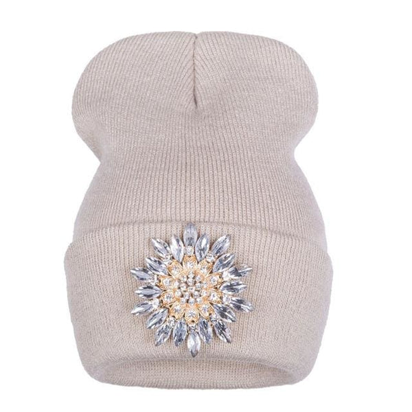 ae51b707f1879 Crystal Snowflake Beanies - affordable Cheap Clothes Quality styles - Beige  white