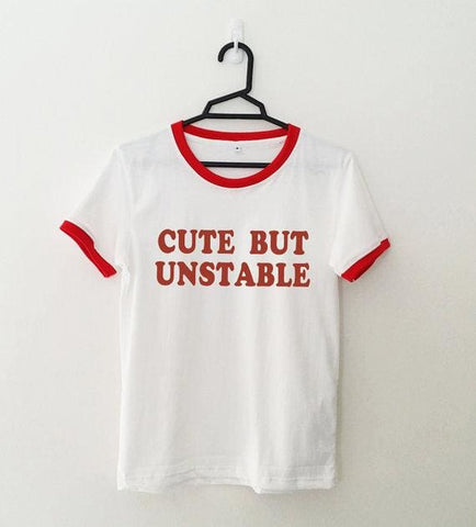 Cute But Unstable Shirts - affordable Cheap Clothes Quality styles - red ringer red text / S