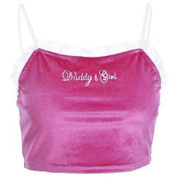 Daddys Girl Velvet Crop Tops - affordable Cheap Clothes Quality styles - as picture / L