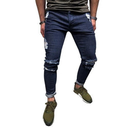 Dark Blue Distressed Jogger Jeans - affordable Cheap Clothes Quality Streetwear Bottoms - Dark Blue / S